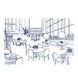 modern restaurant or cafe interior furnished with vector image