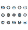 blue gear and cog icons set vector image