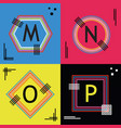 colorful capital letters m n o and p line emblems vector image