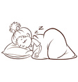 A simple sketch of a girl sleeping vector image