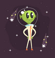 alien with big eyes posing with arms akimbo vector image