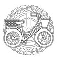 antique bicycle with basket chain and sprocket vector image