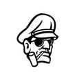 army general head smoking pipe sport mascot black vector image vector image