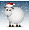 Background with Santa sheep vector image vector image