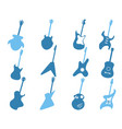 blue guitar icons set vector image vector image