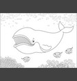 bowhead whale and funny small fishes vector image