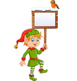 Cartoon funny elf boy holding blank sign vector image