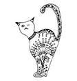 cat sitting zentangle stylized vector image vector image