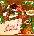 christmas banner of festive dinner on wooden table vector image vector image