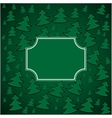 Christmas firs background and square frame vector image vector image
