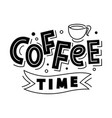 coffee time lettering logo badge isolated vector image vector image