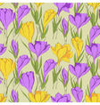 crocus seamless patterm 2 purple yellow vector image vector image