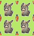cute donkey and carrot seamless pattern vector image
