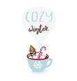 cute greeting card with cup hot chocolate and vector image vector image
