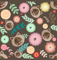 cute seamless pattern with different plants vector image vector image