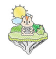 doodle nice chipmunk animal in the float island vector image vector image