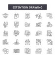 extention drawing line icons signs set vector image vector image