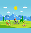 family cycling active mom dad and kids vector image vector image