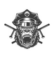 ferocious gorilla head in police cap vector image vector image