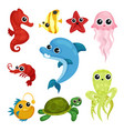 flat set of cute marine animals sea star vector image