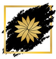 flower sign golden icon at black spot vector image