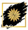 flower sign golden icon at black spot vector image