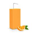 fresh ripe orange and juice carton package vector image vector image
