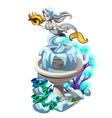 frozen fancy fountain with a stone mermaid with vector image