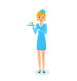 girl in beautiful clothes of stewardess vector image
