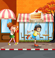 Girls playing rollerskates on the street vector image vector image