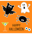Happy Halloween set Ghost bat spider eyes martini vector image