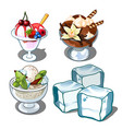 ice cream with berries mint and chocolate vector image