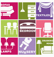icons of furniture and interiors vector image vector image