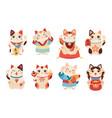 japanese maneki cats asian lucky figurines cute vector image vector image