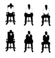 man silhouette siting on chair in black and white vector image vector image