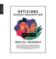 medical insurance template - opticians shop vector image