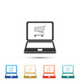 online shopping concept shopping cart on laptop vector image vector image