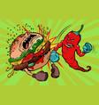 pepper beats burger vegetarianism vs fast food vector image vector image