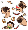 pug pattern cartoon style vector image vector image