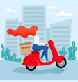 redhead girl courier rides a moped vector image