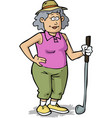 retired woman plays golf vector image vector image