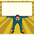 retro businessman holding a heavy banner vector image vector image