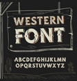 retro western font alphabet on dark vector image vector image