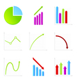 Set of 9 graph icon vector image