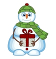 Snowman carrying a gift vector image vector image