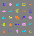 Sufficient economy color icons on gray background vector image vector image