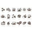 tea time linear icons set cookie cake kettle vector image vector image