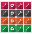 Tools icons set Cogwheel gear hammer wrench vector image vector image