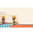 Two black young builders vector image