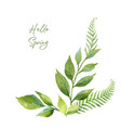 watercolor wreath with green branches and vector image vector image